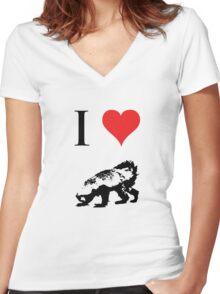 I Love Honey Badger Women's Fitted V-Neck T-Shirt