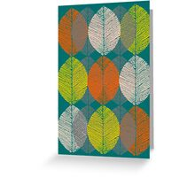 Autumn Leaves (Teal) Greeting Card