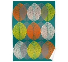 Autumn Leaves (Teal) Poster