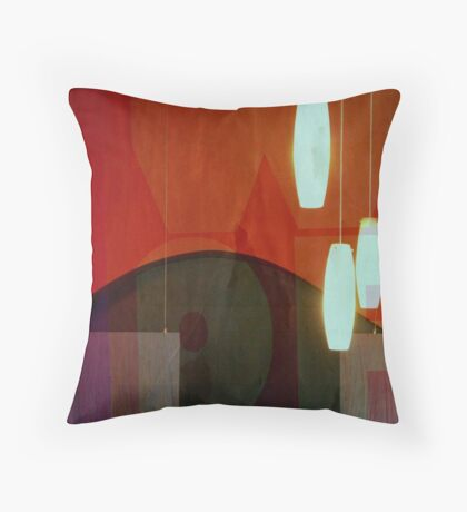 Restaurant Window Abstract Throw Pillow