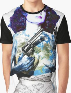 """Title: """"Keep Moving"""" Queen Of Burlesque, Sexy Earth Girl with Guns Graphic T-Shirt"""