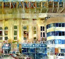 Yankee Stadium, Bronx, New York Art Watercolor Print by Dorrie  Rifkin