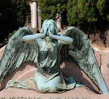 weeping angel at the Monumental Cemetery Genoa, Italy by PhotoStock-Isra