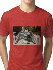 weeping angel at the Monumental Cemetery Genoa, Italy Tri-blend T-Shirt