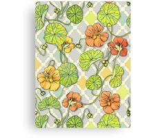 Climbing Nasturtiums in Lemon, Lime and Tangerine Canvas Print