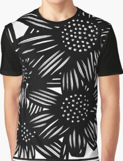 Chatoyant Flowers Black and White Graphic T-Shirt