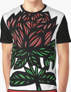 Mythopoeic Flowers Red Green White Graphic T-Shirt