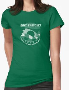 Davy Sprocket Logo - white Womens Fitted T-Shirt