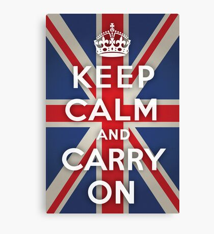 Keep Calm and Carry On (Union Jack Background) Canvas Print