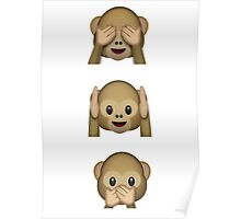 Three wise monkeys whatsapp emoji Poster