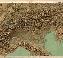 Vintage Map of Northern Italy (1899) by BravuraMedia