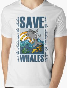 SAVE WHALES Mens V-Neck T-Shirt