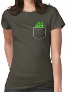 Pocket Pepe The Frog Womens Fitted T-Shirt