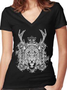 Jaguar Black Women's Fitted V-Neck T-Shirt
