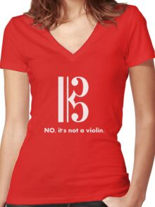 Alto Clef - NO, It's Not a Violin. (White Inverse) Women's Fitted V-Neck T-Shirt