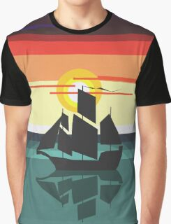 The Black Vector | Pirate Ship Graphic T-Shirt