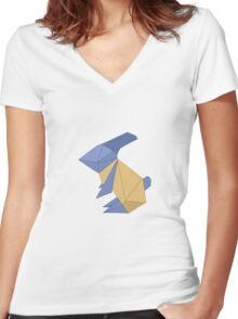 To the Moon - Origami Rabbit Women's Fitted V-Neck T-Shirt