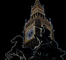Big Ben and boudica Statue with glowing Edges by DavidHornchurch