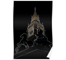 Big Ben and boudica Statue with glowing Edges Poster
