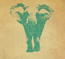 Elephant print  - vintage map by opul