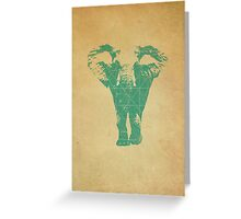 Elephant print  - vintage map Greeting Card