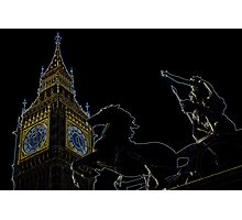 Big Ben and boudica Statue with glowing Edges Photographic Print