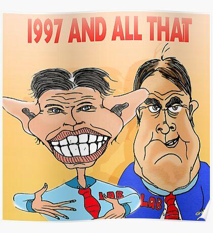 Tony Blair and John Prescott Caricatures  Poster
