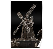 Upminster windmill Digital artwork Sepia Toned Poster
