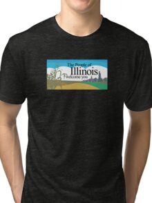 Welcome to Illinois, Road Sign, USA  Tri-blend T-Shirt