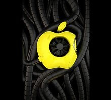 apple logo, worn paint , pipes and metal by renderpimp