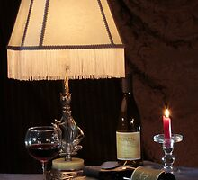 Wine Bottles Under Lamplight by FrankSchmidt
