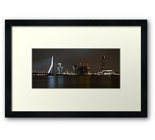 Rotterdam Skyline By Night Framed Print