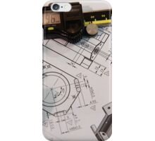 Metal tooling shop floor concept with CAD blueprint and micrometer calliper  iPhone Case/Skin