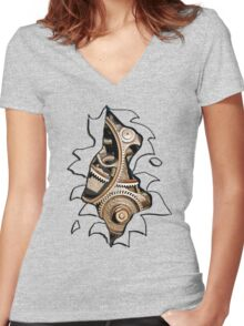 Ripped Tee - Cogs Women's Fitted V-Neck T-Shirt