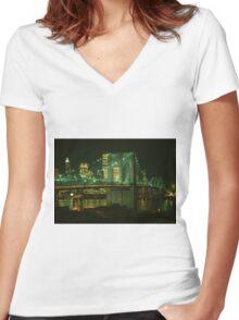 Brooklyn Bridge at Night Photograph Women's Fitted V-Neck T-Shirt