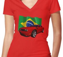 Challenger Brazil Women's Fitted V-Neck T-Shirt