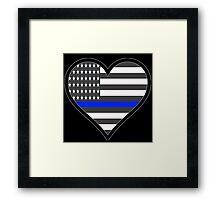 Police Love Blue Line Framed Print