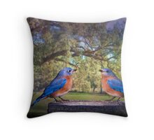 Bluebirds in the Deep South Throw Pillow