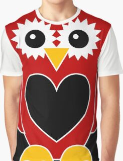 Red Owl with Black Heart Graphic T-Shirt
