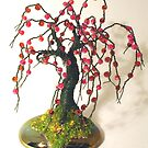 SMALL APPLE  No.2 - Beaded Wire Tree Sculpture  by Sal Villano