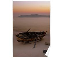 That Boat on the roof in Santorini, sunset Poster