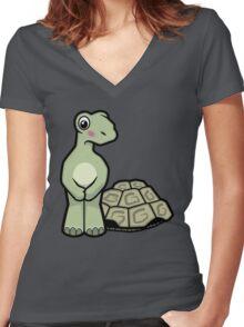 Tort-ally Naked Tortoise Women's Fitted V-Neck T-Shirt