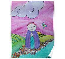 Mizuko Jizo with pink sky butterfly Poster