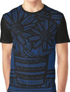 Pobanz Flowers Blue Black Graphic T-Shirt