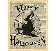 Happy Halloween Witch With Broom Dictionary Artwork Photographic Print