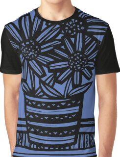 Novara Flowers Blue Black Graphic T-Shirt