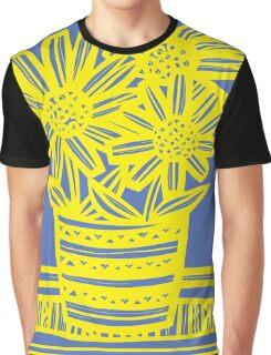 Chinnis Flowers Yellow Blue Graphic T-Shirt