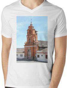 Facade of Immantag Church Mens V-Neck T-Shirt