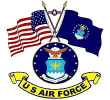U. S & Air Force Crossed Flags Photographic Print