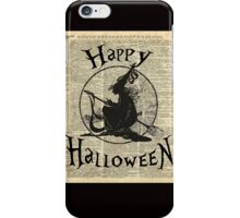 Happy Halloween Witch With Broom Dictionary Artwork iPhone Case/Skin